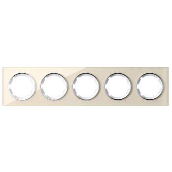 Рамка стеклянная OneKeyElectro, серия Garda, горизонтальная, на 5 приборов, цвет бежевый - фото 1