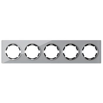 Рамка стеклянная OneKeyElectro, серия Garda, горизонтальная, на 5 приборов, цвет серый - фото 1
