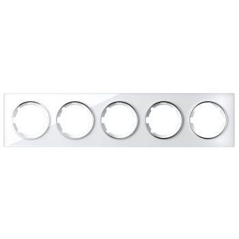 Рамка стеклянная OneKeyElectro, серия Garda, горизонтальная, на 5 приборов, цвет белый - фото 1