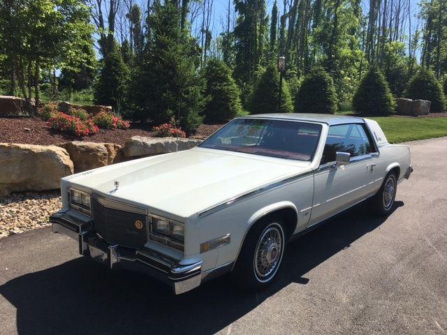 Metalic white 1984 Cadillac Eldorado Biarritz Coupe