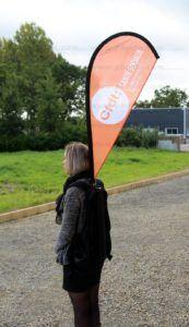 CFDT drapeau sac a dos pour le street marketing