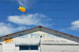 ballon dirigeable jaune pour signalétique d'un magasin
