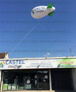 gros dirigeable hélium castel chauffage au dessus boutique