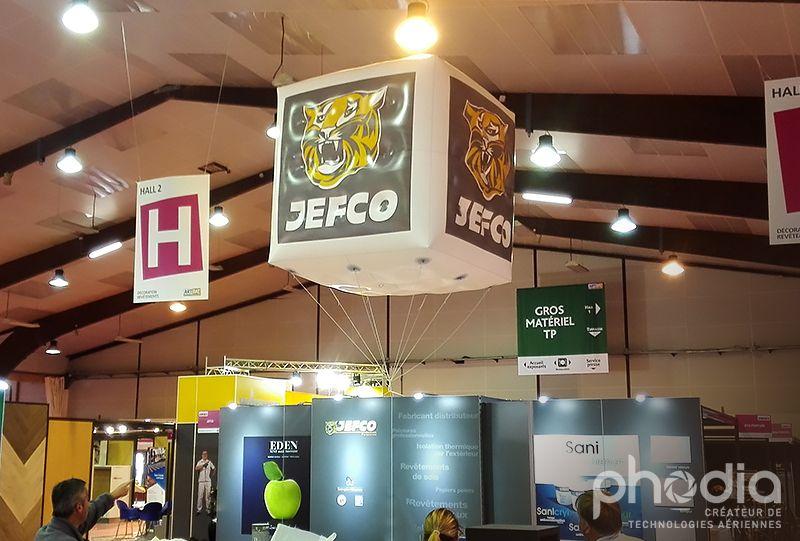 cube gonflable hélium imprimé en 4 faces Jefco