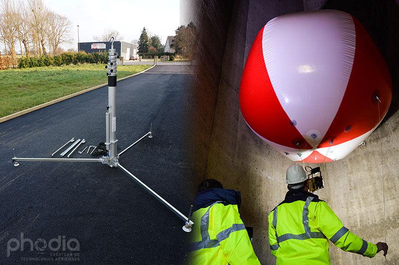 mât télescopique aluminium et ballon de 2.2 m pour prise de vue aérienne