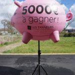 plv ballon cochon rose gonflable sur trépied