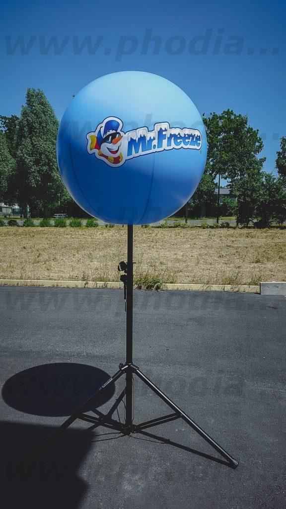 gros ballon publicitaire sur trépied 2.5 m mr freeze