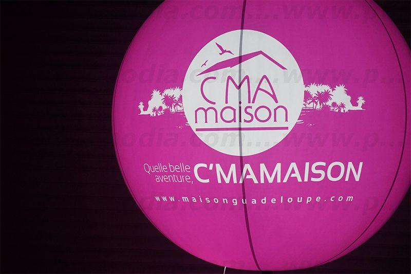 Ballon sphère sur perche télescopique Cmamaison rose bonbon