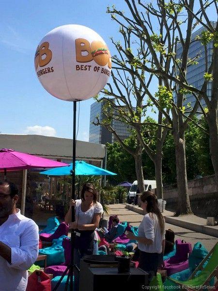 ballon best of burgers, éclairant  sur terrasse