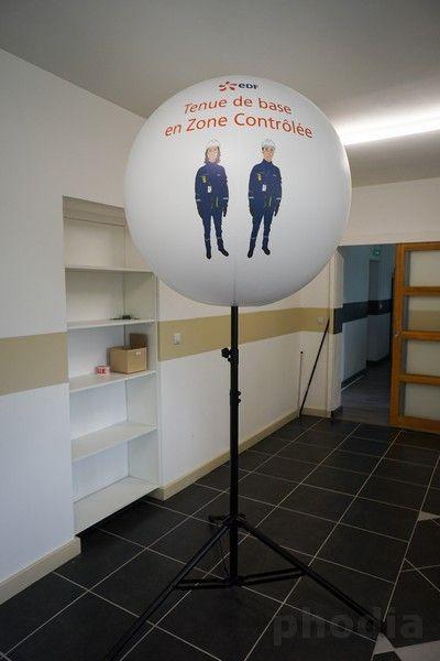 ballon sur mât télescopique de 3m impression numérique