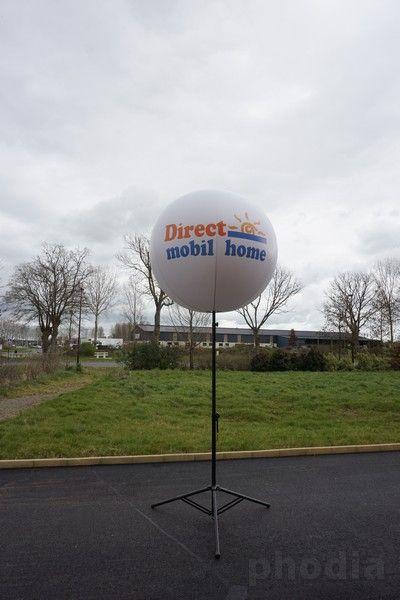 direct mobil home ballon sur pied extérieur de 4m de hauteur marquage 2 faces
