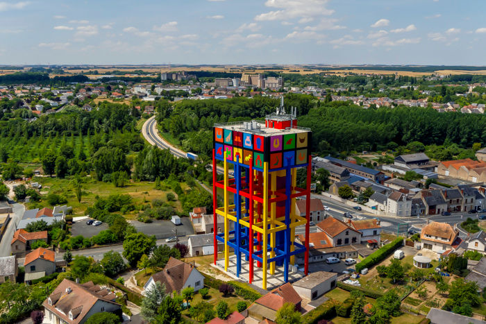 château d'eau d'Issoudun prise en photo aérienne