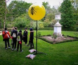 64 ballons sur pieds dans le parc du château de Versailles