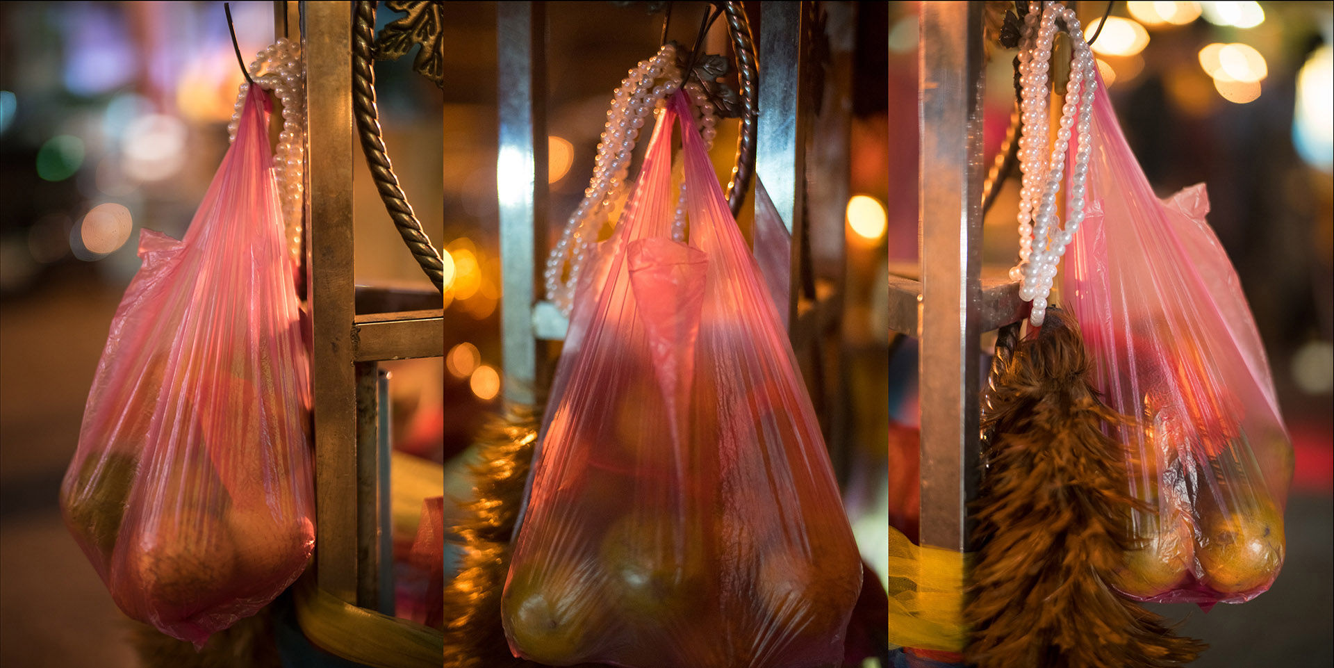 Pink Bag of Offerings, Chinese New Year, triptych