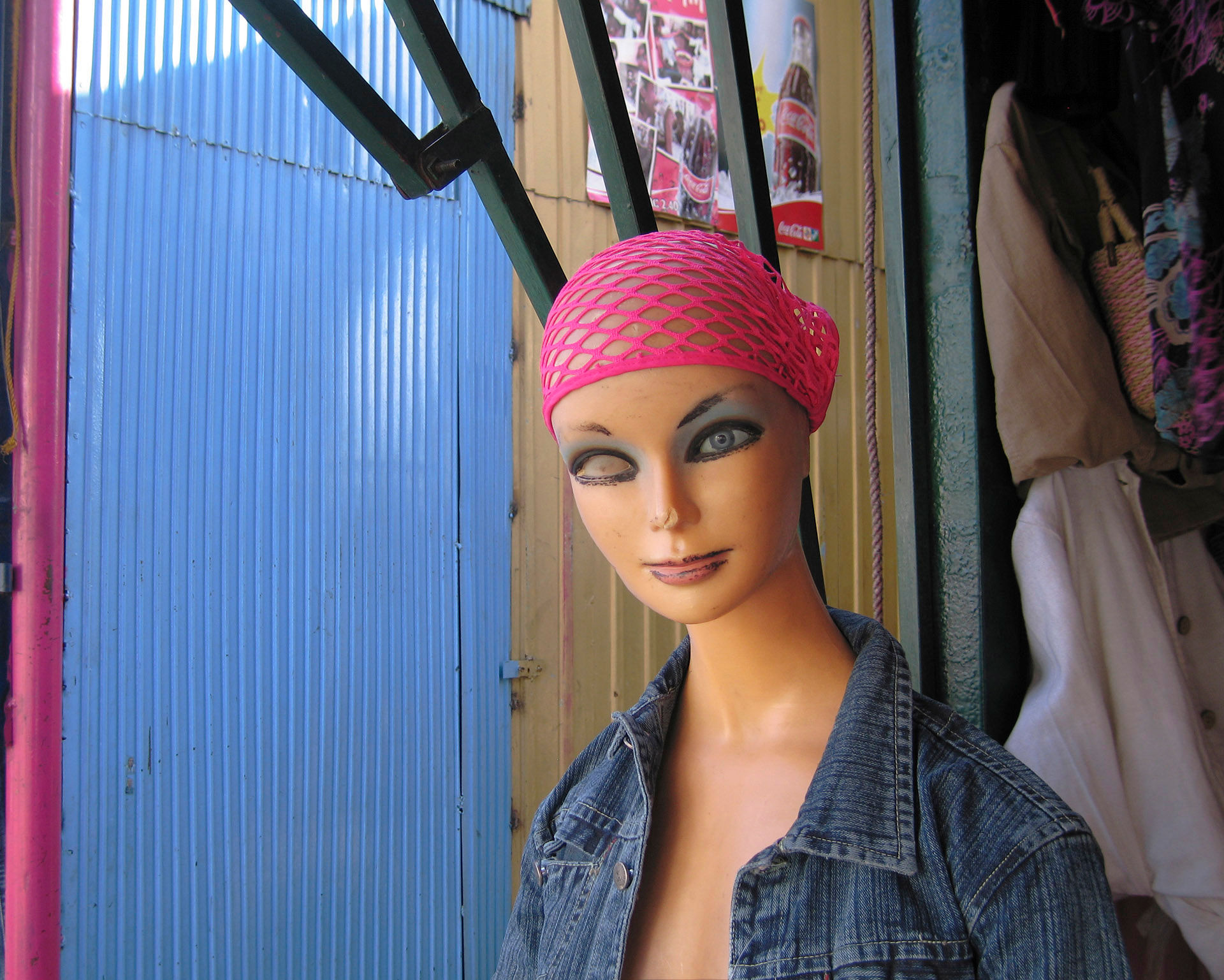 One eyed Mannequin Red Scarf