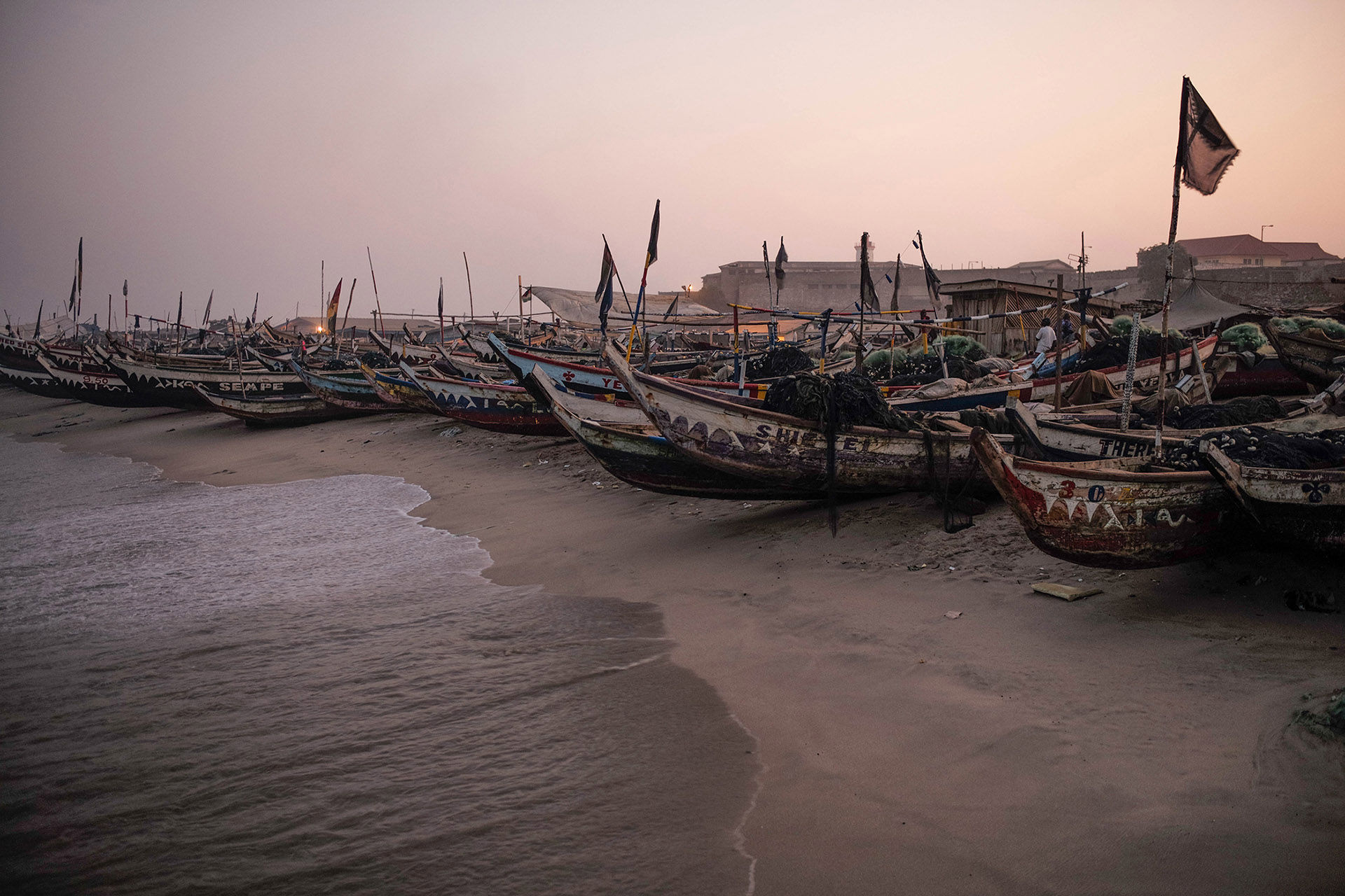 Accra Fishing Fleet at Dusk, Jamestown