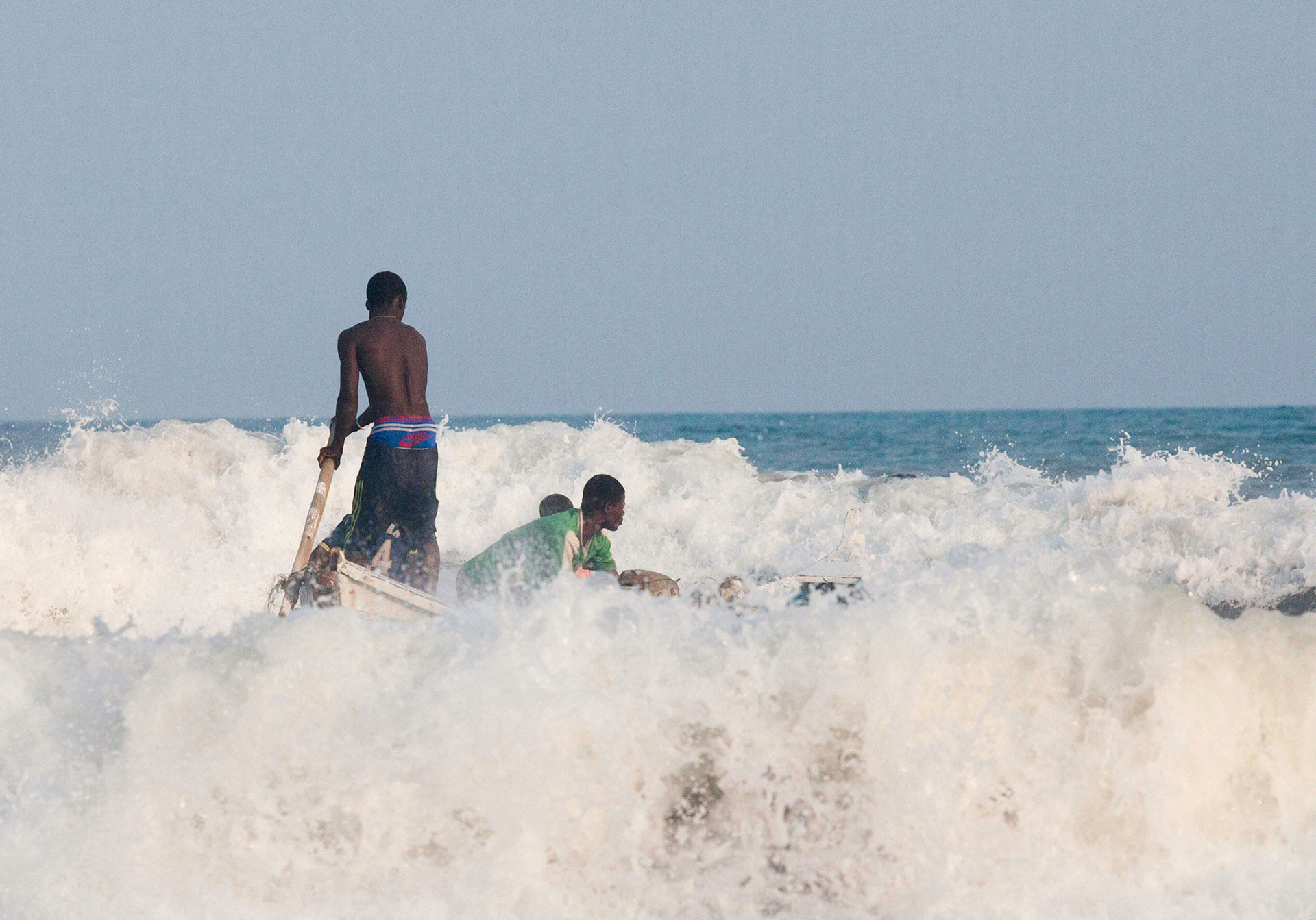 Boys Launching in Surf, Kokobrite