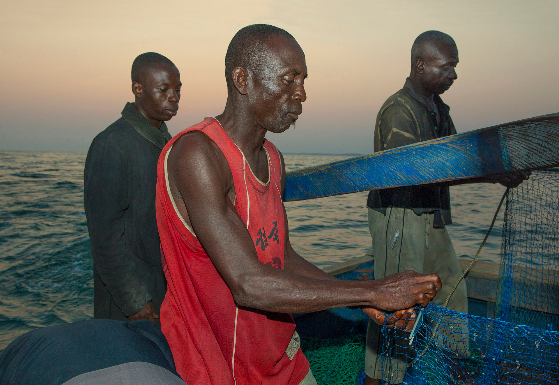 Three Fishermen on Trawler, Elmina