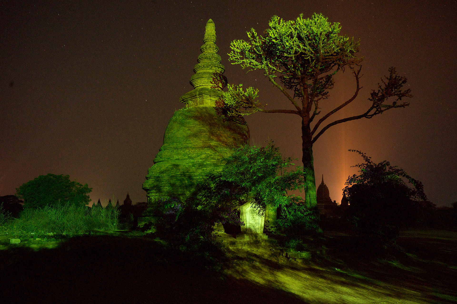 Bagan Pagoda green light