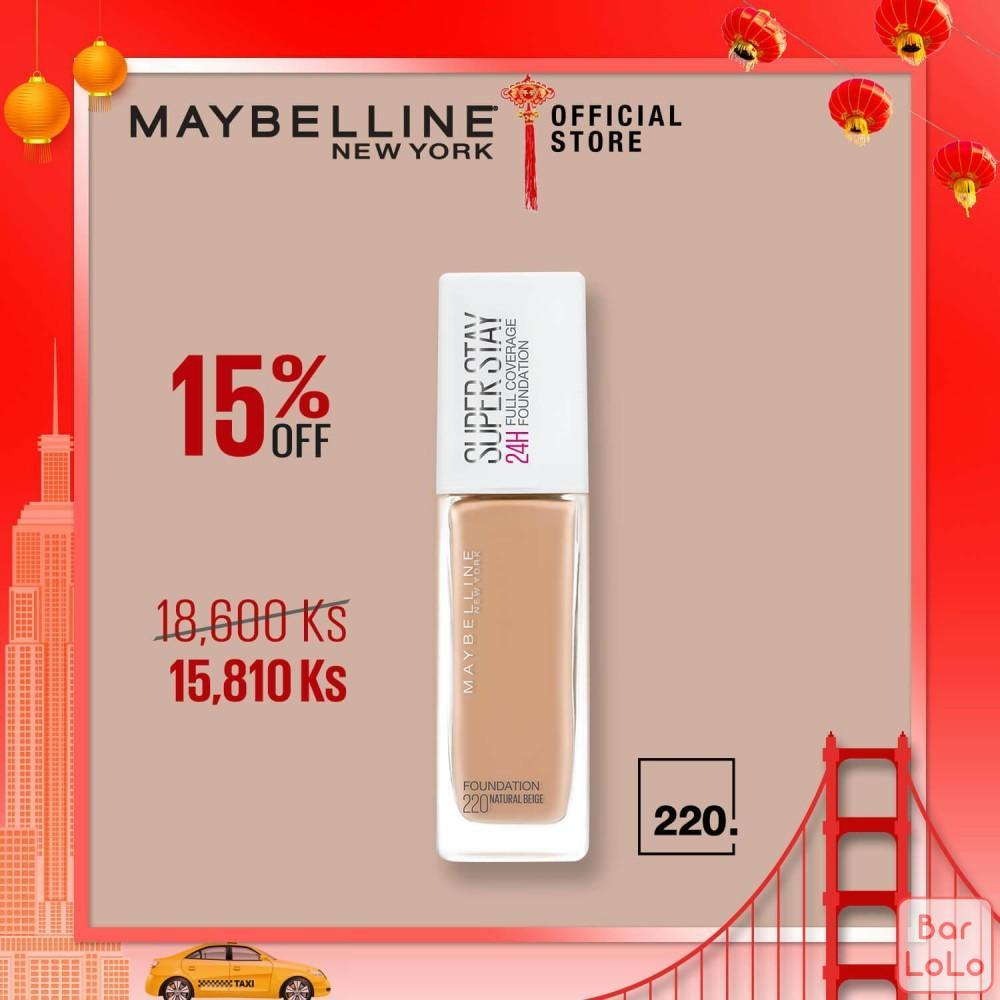 MAYBELLINE NEW YORK SUPER STAY 24HR FULL COVERAGE FOUNDATION 220 NATURAI BEIGE-78427