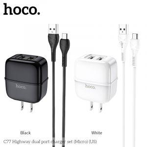Hoco Highway dual port charger set(Micro) ( C77 )