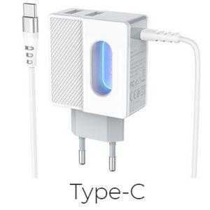 Hoco Imperious dual port charger(Type-C)( C75 )