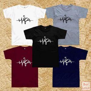 Men and Women T Shirt (Heart Beat With Musical Note)-76094