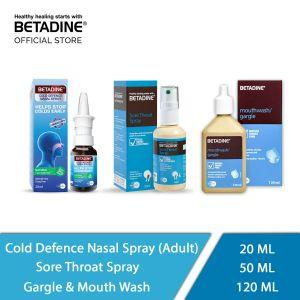 Betadine Sore Throat Spray, Cold Defence Nasal Spray Adult and Gargle & Mouth Wash (50 ml, 20ml, 120 ml)