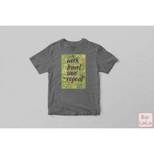 Men T-Shirt (Work,Travel,Save,Repeat) (L)-73955