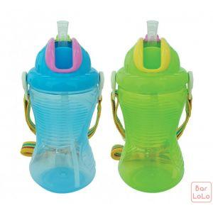 Little Bean LB Wonder Sippy 360ml /12oz drinking cup with Belt (Blue & Green) (LBBEF11209)-65935