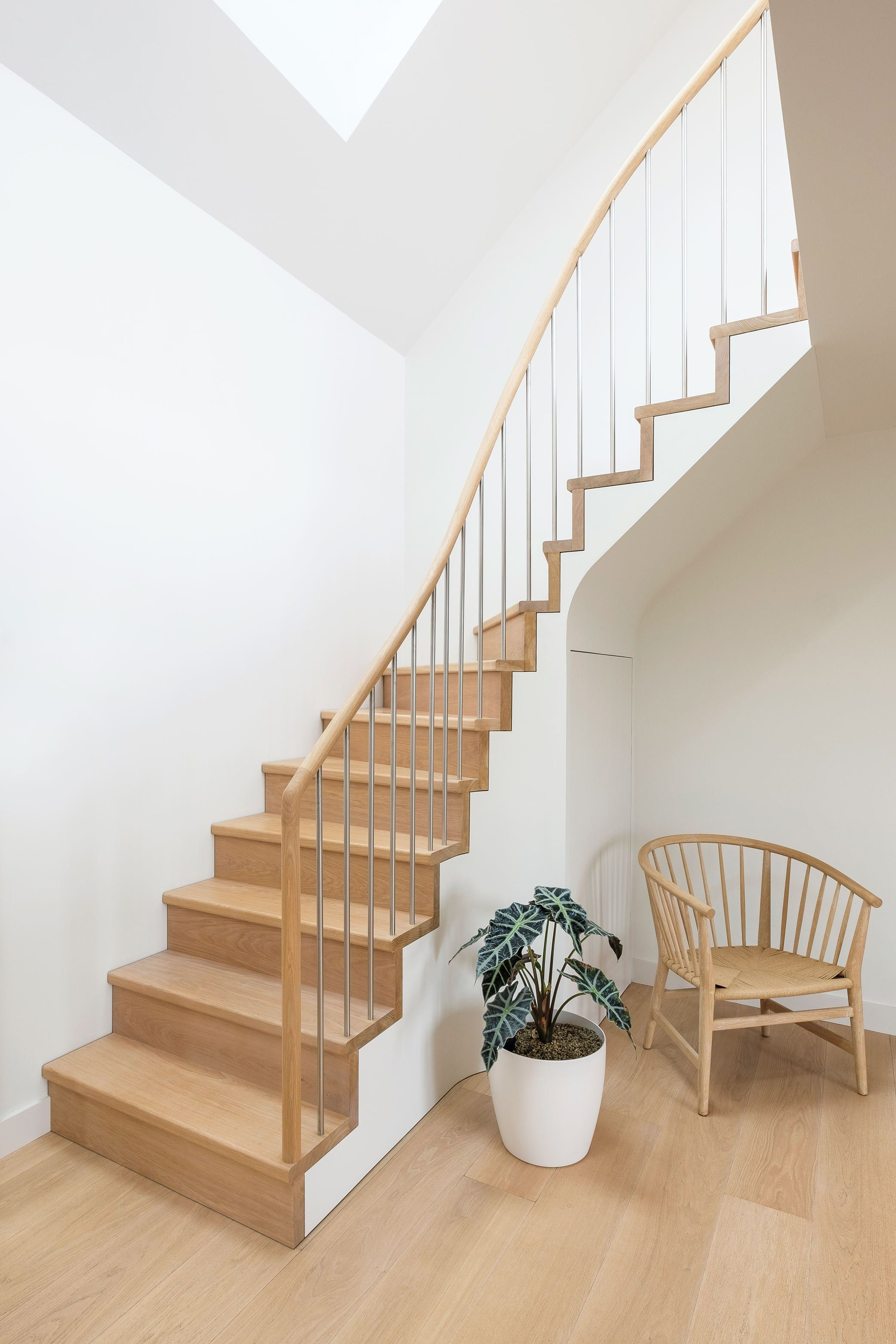 Oak Staircase with stainless steel balustrade spindle, curved oak handrail and white understructure. Danish designed oak chair. White walls and potted plant.