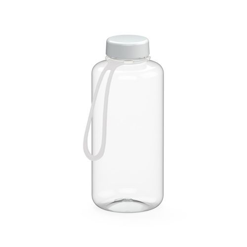 Trinkflasche 'Refresh' klar-transparent inkl. Strap, 1, 0 l (transparent / weiß) (Art.-Nr. CA240514)