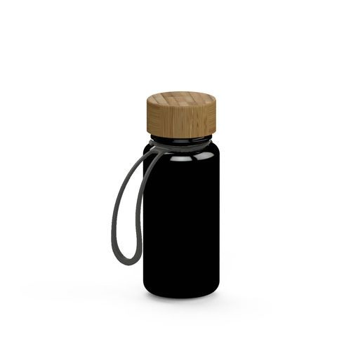 Trinkflasche 'Natural' Colour inkl. Strap, 0, 4 l (schwarz) (Art.-Nr. CA247307)
