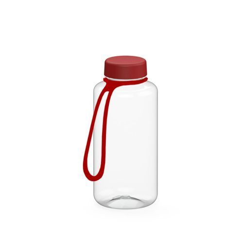 Trinkflasche 'Refresh' klar-transparent inkl. Strap 0, 7 l (transparent / rot) (Art.-Nr. CA662119)