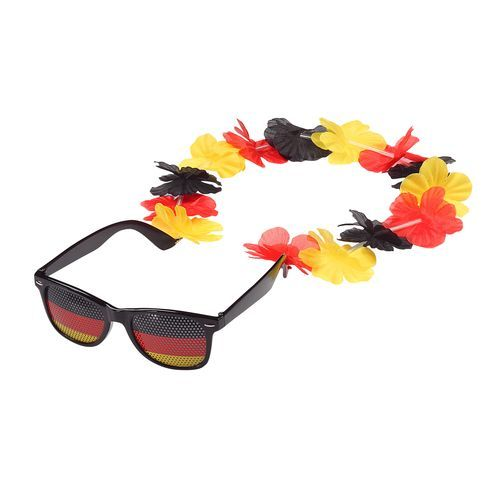 Spaßbrille 'Germany' mit Blumenkette (Art.-Nr. CA933027) - Coolness made in Germany! Spaßbrill...