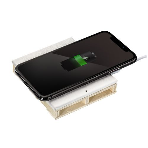 Wireless charging station REEVES-ALMATY WHITE (Art.-Nr. CA896494) - Unser Wireless Charger im witzigen...
