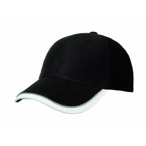 Heavy Twill Cotton 6 Panel Reflex Cap (schwarz) (Art.-Nr. CA035649)