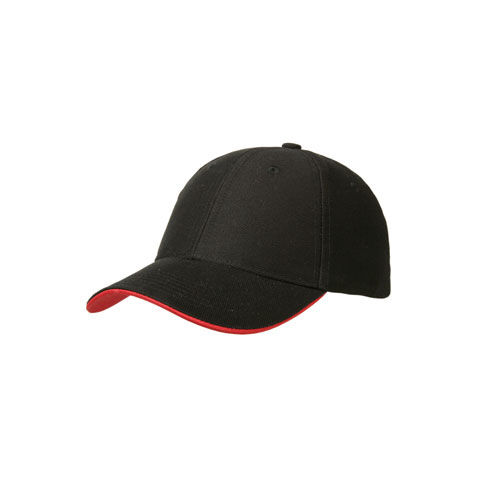 6 Panel Heavy Twill Cotton Cap (schwarz / rot) (Art.-Nr. CA120820)