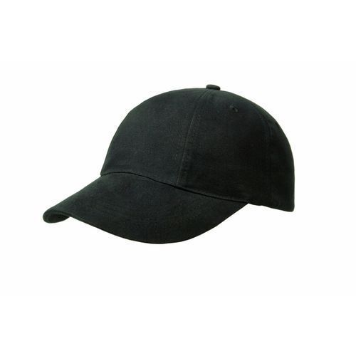 Brushed Cotton 6 Panel Turn Top Cap (schwarz) (Art.-Nr. CA128627)