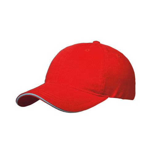 Brushed Cotton 6 Panel Sandwich Cap (rot / weiß) (Art.-Nr. CA189750)