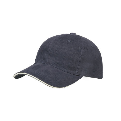 Brushed Cotton 6 Panel Sandwich Cap (marine / natur) (Art.-Nr. CA570925)