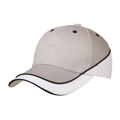 Brushed Cotton / Microfaser 10 Panel Cap (grau / weiß) (Art.-Nr. CA687605)