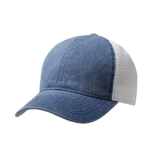 Washed Cotton Soft Mesh Trucker 6 Panel Cap (blau / weiß) (Art.-Nr. CA704838)