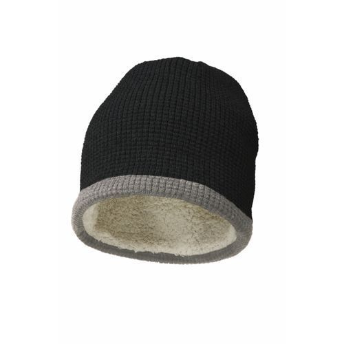 Luxury beanie with teddy lining (schwarz-grau) (Art.-Nr. CA713520)
