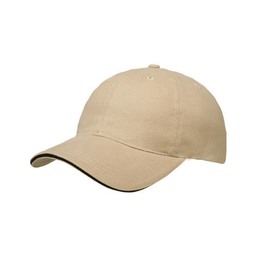 Brushed Cotton 6 Panel Sandwich Cap (sand / schwarz) (Art.-Nr. CA997650)