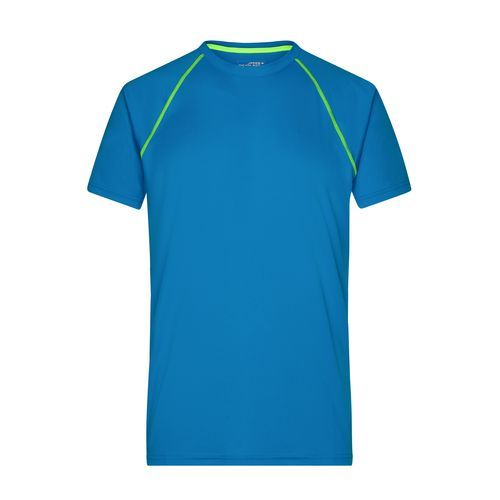 Men's Sports T-Shirt - Funktions-Shirt für Fitness und Sport (blau/gelb/neon) (Art.-Nr. CA025406)