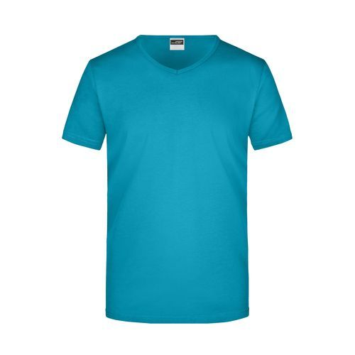 Men's Slim Fit V-T - Figurbetontes V-Neck-T-Shirt (blau) (Art.-Nr. CA026864)