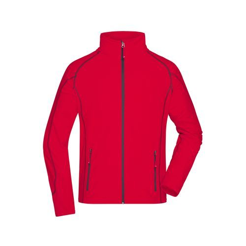 Men's Structure Fleece Jacket - Leichte Outdoor-Fleecejacke (rot/grau) (Art.-Nr. CA044348)