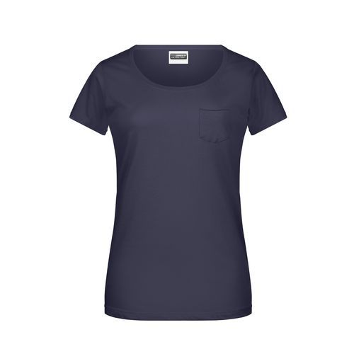 Ladies'-T Pocket - Damen T-Shirt mit modischer Brusttasche (blau) (Art.-Nr. CA066857)