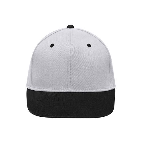 Stylische Flatpeak Cap im 6 Panel 'High Profile' Look (schwarz / grau) (Art.-Nr. CA120535)